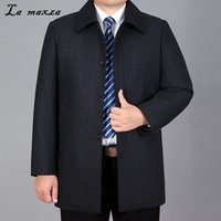 Wholesale age clothes resale online - Winter Fashion Cashmere Smart Casual Men Overcoat Turn down Collar Middle Age Clothing