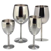ingrosso fascini bicchieri di vino-2 pezzi bicchieri da vino in acciaio inossidabile 18/8 metallo bicchiere da vino bar bicchiere da vino champagne cocktail bevendo tazza di fascini rifornimenti del partito