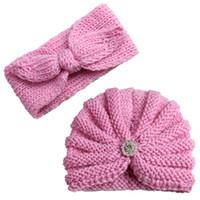 ingrosso cappello blu invernale dei ragazzi-Cappello all'ingrosso del bambino di 2Pcs Nuovo cappello di inverno di autunno Neonate accessori per capelli messi inverno caldo caldo maglia Bonnet Kids