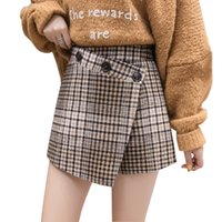 a37f5f00ac7f Winter fashion slim plaid woolen shorts trousers high waist split irregular  buttons shorts skirts 2018 chic harajuku short women. 34% Off