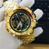 часы для двоих оптовых-2019 Мужская мода благородный кварцевые часы из нержавеющей стали хронограф полный золотой циферблат 18 К позолоченный