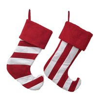 Wholesale sock storage bags resale online - Large Chirstmas Decoration Stocking Stripe Christmas Sock Gift Bag Christmas Tree Decoration Hang Storage Bag Party Supplies ZZA1350