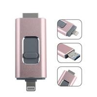 pluma de memoria 128 al por mayor-Precio de fábrica Android iOS Flash Drive 128 GB 64 GB 32 g Memory Stick 3 en 1 OTG USB Pen Drive Almacenamiento externo Compatible con iPhone iPad iPod