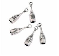 ingrosso collana in perle di tibet-Argento tibetano bottiglia di vino 3D ciondolo perle di fascini misura europeo braccialetto collana orecchini creazione di gioielli artigianali accessori regalo 19x12mm