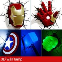Wholesale led wall stickers resale online - Night Lamp sticker Iron Man Mask Thor sledgehammer led novel D Wall Lamp