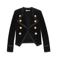 schwarze samtmantel frauen großhandel-2019 neue Landebahn Design Frauen gekerbte Kragen kurze Jacke Mantel Winter Zweireiher Anzug weiblichen Samt schwarz schlank Outwear