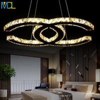 ingrosso k9 lampadari moderni-15w 18w 35w 48W semplice arte moderna LED lampadari di cristallo argento ambra montaggio a soffitto luce moderna k9 luce del pendente romantico camera da letto infissi