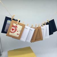 aufzeichnungsrahmen großhandel-10 Stück Kraftpapier oder Farbfotorahmen 4 Zoll Wandbehang Bilderrahmen Kraftpapierclip und Seil Rekord Familie beautifu