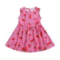robe de soirée enfantine achat en gros de-Robe enfant fille sans manches Plaid Pastèque Print Robe en coton et lin à fleurs Printemps Eté