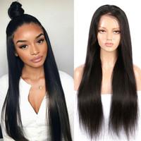 Wholesale front lace human hair closure resale online - Brazilian Lace Front Human Hair Wigs Full End Straight Hair Lace Front Wigs Closure Bleached Knots