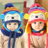 Wholesale baby boy sets monkey resale online - New Little Monkey Baby Winter Knitted Beanie Hat And Scarf Set Toddler Kids Warm Balaclava Cap Outdoor Skiing Sports Scarf Sets