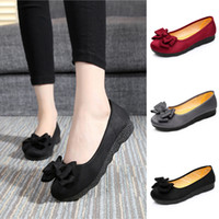 Wholesale soft bottom men casual shoe resale online - Fashion Women s Bow Flat Peas Shoes Summer Casual Round Toe Shallow Mouth Platform Shoes Ladies Soft Bottom Work Footwear