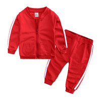 Wholesale babys girls clothes for sale - Group buy Autumn Fashion Baby Girl Clothes Cotton Long Sleeve Solid Zipper Jacket Pants Babys Tracksuit Baby Boy Clothing Set