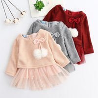 Wholesale fall girl clothes resale online - New Fall Winter Baby Girls Dress Toddler Knitted Tulle Cotton Dress Fashion Kids Clothing