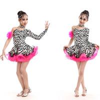 traje da dança da zebra dos miúdos venda por atacado-Sexy Plus Size Zebra Mangas Compridas Roupas de Dança Menina Crianças Concurso de Dança Latina Vestido de Baile Tango Rumba Trajes de Salsa