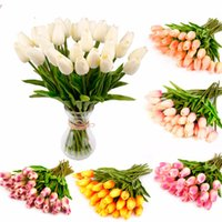 mini tulipes achat en gros de-Nouveau design 10 30PCS PU Mini tulipe fleurs réelles tactiles fleurs artificielles pour bouquet de mariée mariage Couronnes décoratives Fleurs