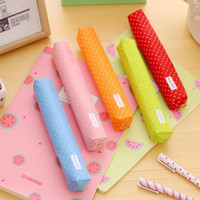 Wholesale korean stationery color pencils for sale - Group buy Cute Candy Color Pencil Case Kawaii Dot Canvas Makeup Bag Stationery Pouch for Girls Gift F2156