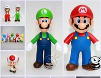 muñecas luigi gratis al por mayor-Super Mario Bros Doll Toy Mario y Luigi Trompeta Animales Juguetes para regalos de Navidad 12 CM envío gratis