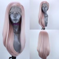 cabelo longo perruque natural venda por atacado-Alta qualidade de simulação cabelo humano 360 Peruca Dianteira Do Laço Perruque Frontal Cor Rosa Completa Cosplay peruca de renda sintética Longa Em Linha Reta Para As Mulheres