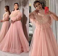 vestidos de noite de penas frisadas venda por atacado-Luxo rosa frisada Vestidos Feather 2020 Elegant Evening vestidos de cristal alta Neck Partido Vestidos Pedrinhas robe de soiree