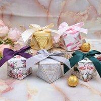 baby süßigkeiten schachtel geschenk groihandel-10 Teile / satz Taschen Baby Shower Süße Pralinenschachtel Geschenk Multicolor Süßigkeitskästen Favor für Hochzeit Diamantförmige Partei Liefert