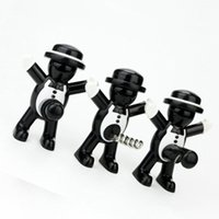 Wholesale metal beer openers for sale - Group buy Originality Metal Red Wine Bottle Stopper Small People Shape Beer Opener Black Gentleman Seal Up Tool Red Wine Opener ZZA1203