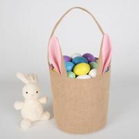 Wholesale running gym bag online - Burlap Easter Basket Bunny Ears Rabbit Basket Cute Easter Gift Bag Rabbit Ears Put Easter Eggs AAA1646
