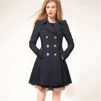 trençkot siyah düğmeleri toptan satış-Kadın Palto Kış Trençkot Moda Katı Palto Turn-down Yaka Ince Giyim Düğmesi Siyah Lacivert Bej Giyim