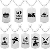 oyun çocukları toptan satış-Fortnite Kolye Kolye Paslanmaz Çelik Etiketi Kale Gece Kolye Baskı Özelleştirilmiş Gravür Sıcak Oyun Hayranları Hatıra Çocuklar Takı
