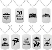 Wholesale game jewelry for sale - Group buy Fortnite Pendant Necklace Stainless Steel Tag Fortress Night Necklace Printing Customized Engraving Hot Game Fans Souvenir Kids Jewelry