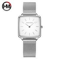 Wholesale women square wrist watch resale online - HM Casual Women Romantic Wrist Watch Square Case Magnetic Buckle Watch Quartz Wrist Fashion Ladies Gfit Montre Femme