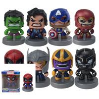 ingrosso volto nero spiderman-The Avengers Change Face Doll Avengers Action Figure Iron Man Thanos Hulk Spiderman Black Widow Bambini Giocattoli divertenti