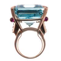 frauen blauen topas ehering großhandel-Sterling Silber Weißgold Abdeckung Sea Blue Topas simulieren Diamantfrauen Hochzeitstag Ring Anweisung Schmuck
