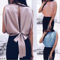 niedliche blusen für frauen großhandel-2019 Frauen Bluse Frühling Sommer sexy T-Shirt ärmellose Schleife-Knoten sexy rückenfreie süße einfarbige Frauen Tops