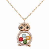 Wholesale bohemian owl necklace resale online - G1296 Gold Owl Round With Rhinestone Magnetic Glass Floating Locket Pearl pendant Women Charms Necklace