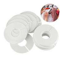 máquina de etiquetado de tubos al por mayor-20 Unids Ropa de Plástico Blanco Redondo Rack Anillo Colgadores Divisores de Tamaño Etiquetas de Prenda Tamaño Anillo de Marcado se ajusta al tubo redondo o cuadrado
