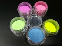 Wholesale glowing powder nails online - Noctilucent powder glitter Phosphor Coating DIY nail art Photoluminescent makeup Dust Glow in Dark luminous fluorescent Powder Pigment