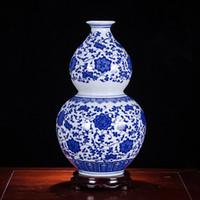 vasos de mesa chinesa venda por atacado-Jingdezhen Vaso de Cerâmica Flor Organizar Azul e Branco Porcelana Tradicional Chinesa Mesa Vaso de Flores Decoração de Casa com Base