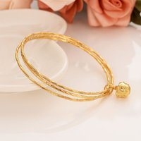Wholesale brass bell pendants resale online - Gold bangles k Solid Fine Gold Finish Lines hoop bundle bangle bracelet Women jewelry Charm Hang Pendant small bell