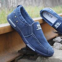 c34b0da49 Homens da moda Sapatos Casuais Denim Homens Sapatas de Lona de Verão Mens  Sneakers Deslizamento Em Mocassins Flats Chaussure Homme Preto Tamanho 45 #  183857