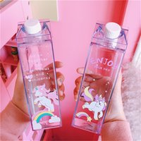 Wholesale plastic milk box for sale - Group buy Unicorn Mini Cute Water Bottles Milk Box Shape Transparent Plastic Cartoon Pink Panther Drink Bottle Coffee Beer Drinkware