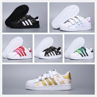 bebek oğlan yeşil ayakkabısı toptan satış-Adidas Superstar Stan Smith stansmith Marka Çocuk Süperstar ayakkabı Orijinal Beyaz Yeşil bebek çocuk Superstars Sneakers Originals Süper Star kız erkek Casual Ayakkabı 24-35 spor
