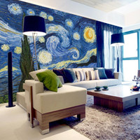 Wholesale mural painting wallpaper oil resale online - Custom D Photo Wallpaper Classic Oil Painting Starry Sky Abstract Art Wall Painting Living Room Background Home Decor Mural