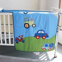 Wholesale baby boy cot bedding sets resale online - New Baby bedding set Embroidery blue car Crib bedding set cotton Items Cot Boy Quilt Bumper Fitted Sheet