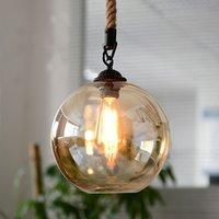 industrielle hängende speisen großhandel-Industrielle Glaskugel Hanfseil Pendelleuchten E27 AC 110 V 220 V Lampe für Esszimmer Wohnzimmer Cafe Bar