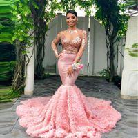 applique flor moderna venda por atacado-Moderno rosa mangas compridas preto meninas prom vestidos 2019 sereia pageant feriados desgaste 3d flores applique floral vestidos de noite bc1052