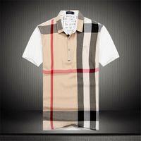ingrosso disegni stampati per la maglietta-T-shirt plaid in cotone stampato patchwork moda uomo moda manica corta t-shirt da uomo