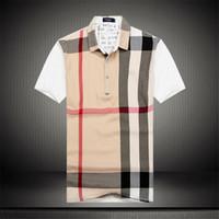 desenhos animados da roupa da forma venda por atacado-Verão Mens Designer Polos Moda Impresso Patchwork Xadrez T-shirt Dos Desenhos Animados de Manga Curta Mens Roupas de Negócios Camisetas
