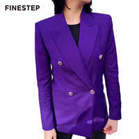 long purple blazer al por mayor-Doble botonadura de las señoras Blazer otoño Blazer de manga larga púrpura para mujeres Slim blazers mujer 2019 nuevo traje de abrigo para mujeres