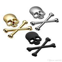 ingrosso involucri viola in fibra di carbonio-9x8.5cm 3D teschio di metallo di scheletro ossa incrociate autoadesivo del motociclo Etichetta auto Skull distintivo dell'emblema styling adesivi accessori decalcomania